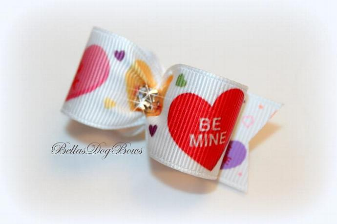 "7/8-L Candy Heart ""Sayings"" on White Grosgrain with Large Swarovski Crystal"