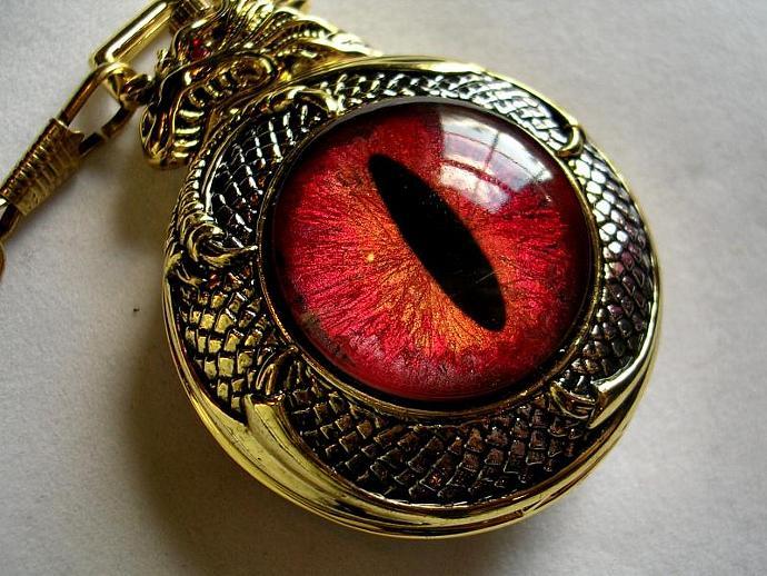 Pocket Watch Quartz - Steampunk Timepiece Gothic Dragon Evil Eye - UV Blacklight