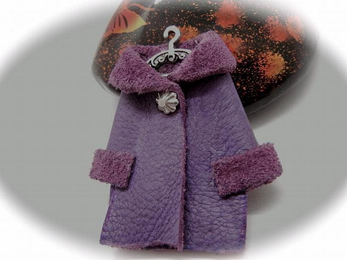 Purple Leather Coat Brooch,  Fun Mini Purple Coat Pin, Handmade by Bumbleberry