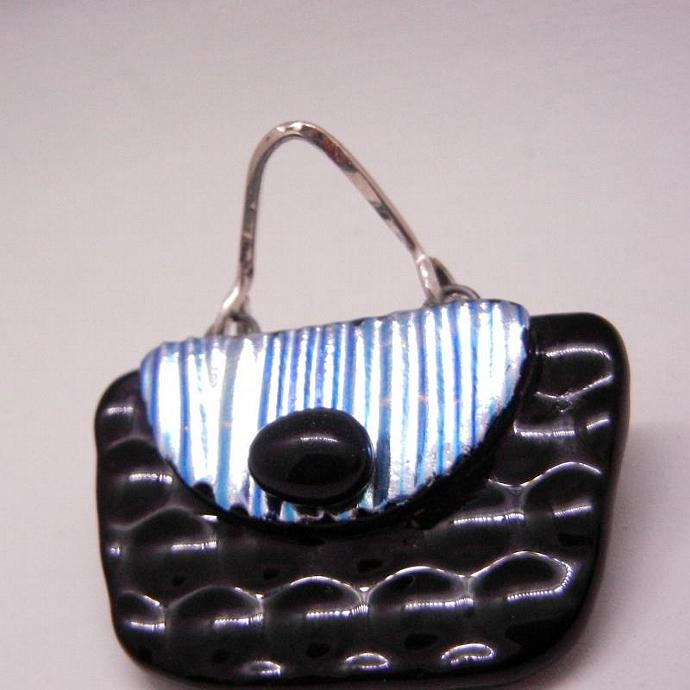 Fused Glass Brooch, Black Purse, Dichroic Glass Brooch, Handbag, Pin, Handmade