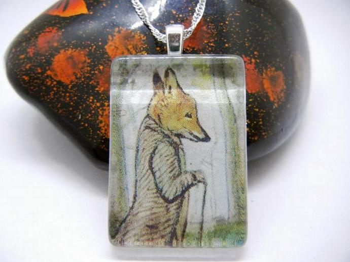 Glass Fox Pendant, Necklace of Beatrix Potter's Mr Tod the Fox, Handmade by