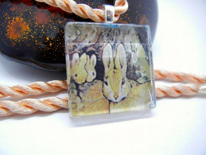 Beatrix Potter Pendant of Bunnies, Bunny Glass Pendant, Handmade by Bumbleberry