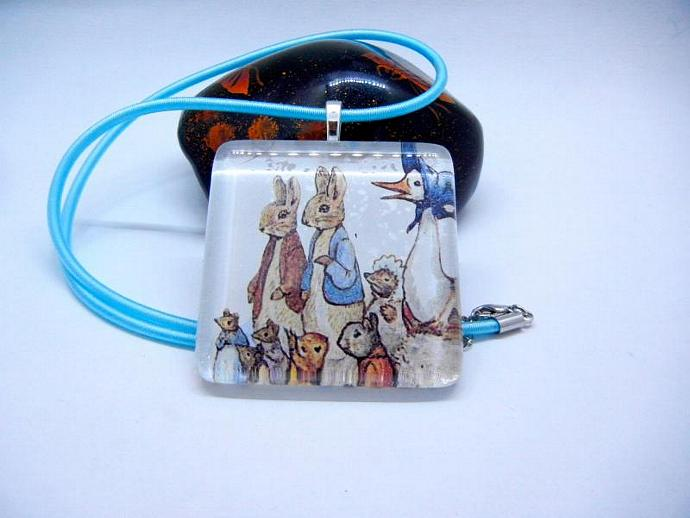 Beatrix Potter Large Glass Pendant Necklace of Her Characters Jemima, Peter,