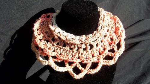 Necklace,, Crochet, Scalloped and Multicolored With Ties