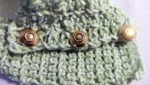 Green Cowl With Three  Gold Buttons