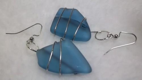 Pale Blue Sea Glass Earrings wrapped in Silver Wire