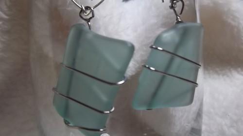 Seaglass Wirewrapped Earrings