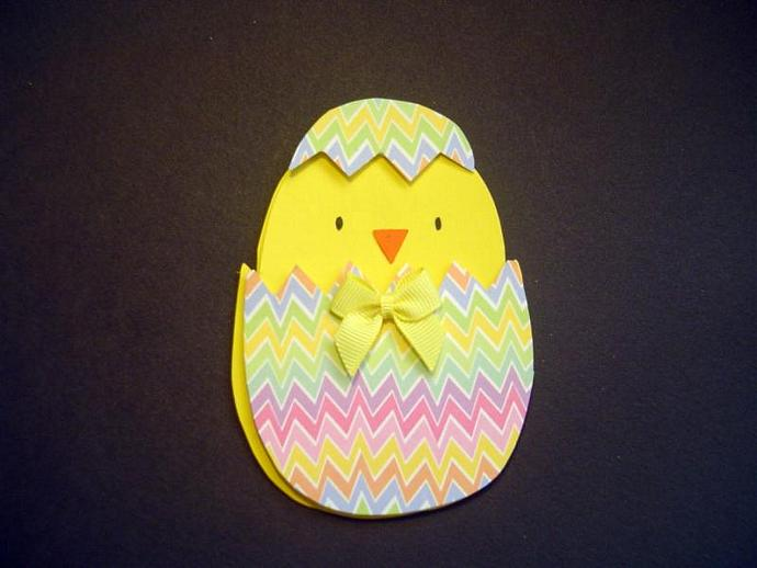 Hand Cut Easter Chick in Easter Egg Happy Easter Card