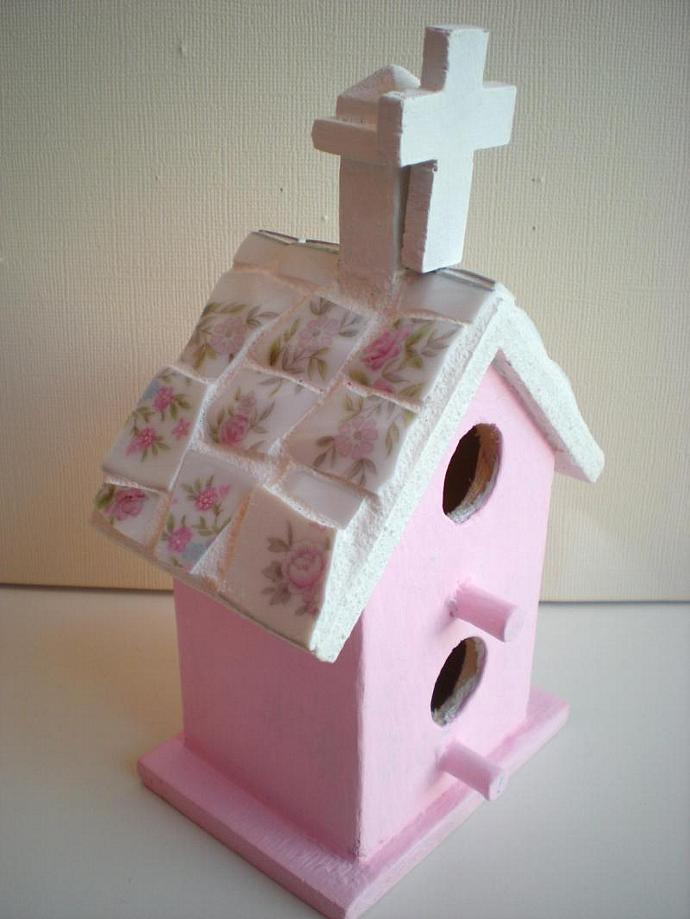 Pink Church Birdhouse with Mosaic Roof