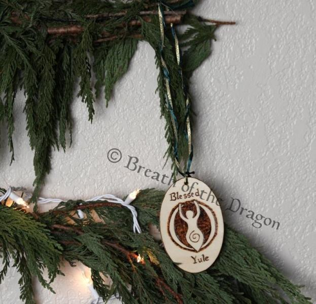 Spiral Goddess Blessed Yule oval ornament