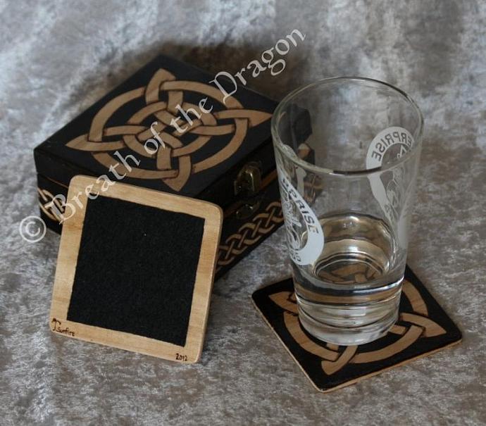 Celtic Wooden Coaster Set w/ matching Box
