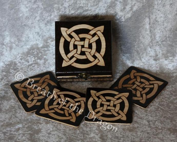 Celtic Wooden Coaster Set
