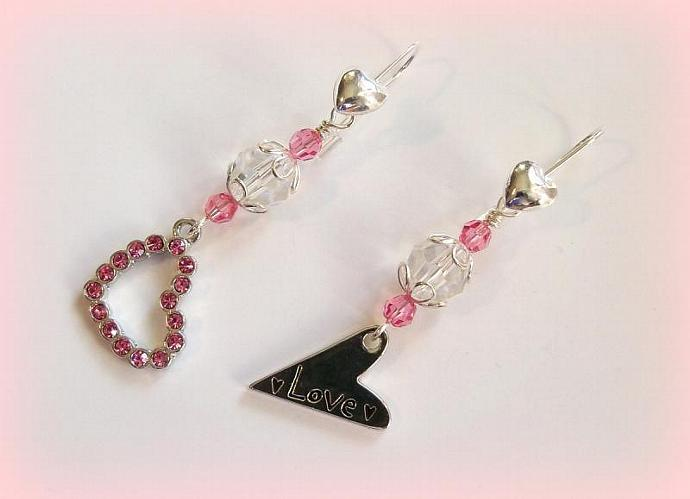 Earrings Love is in the Air with Sterling Silver Heart earwires and Swarovski