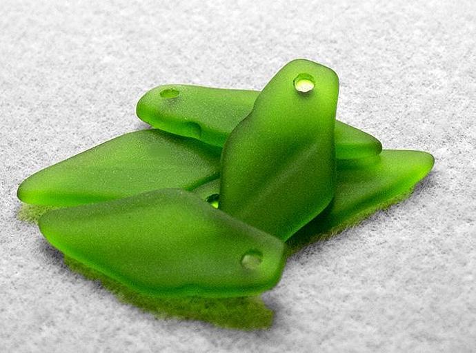 Shamrock Green Sea Glass Shard- recycled glass pendants