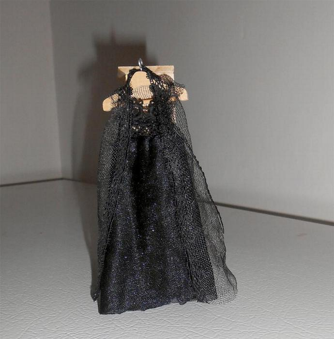 Black Negligee Set in One Inch Dollhouse Scale