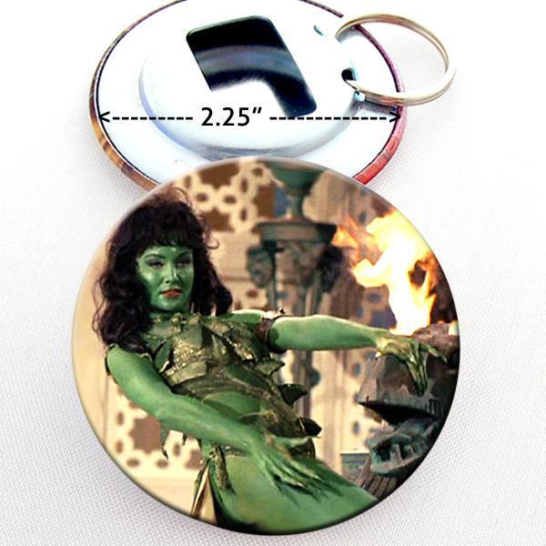 Green Woman Star Trek TOS Bottle Opener Button