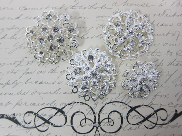 4 Rhinestone Brooches Set-  Clear/Silver