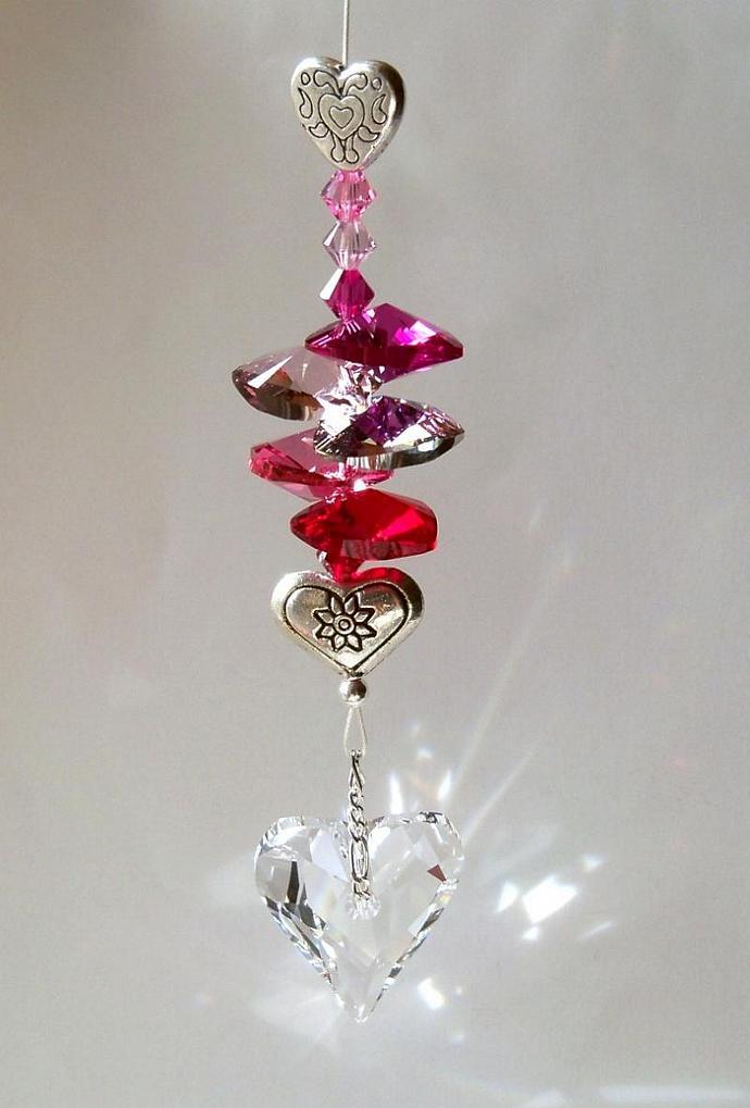 Crystal Suncatcher Valentine Hearts