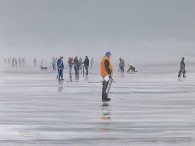 """Clamdiggers In The Fog"" Giclee Paper Print by Carol Thompson"