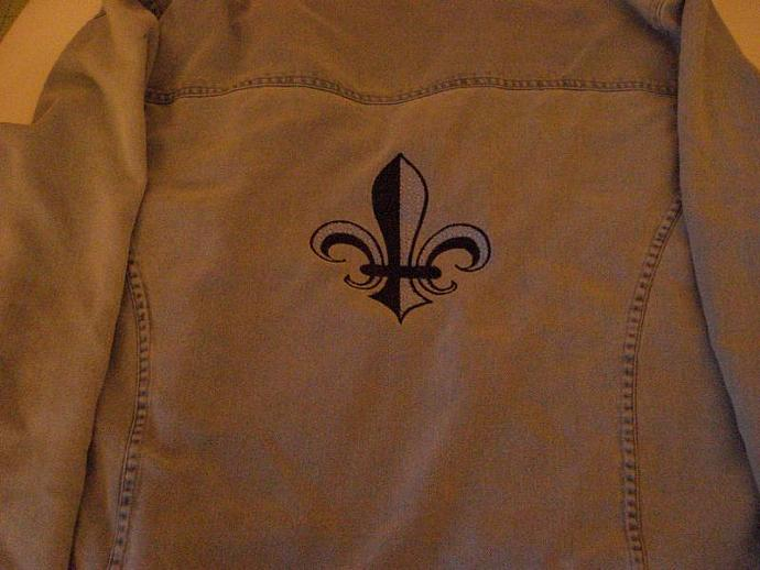 Fleur-de-Lis silk denim look jacket