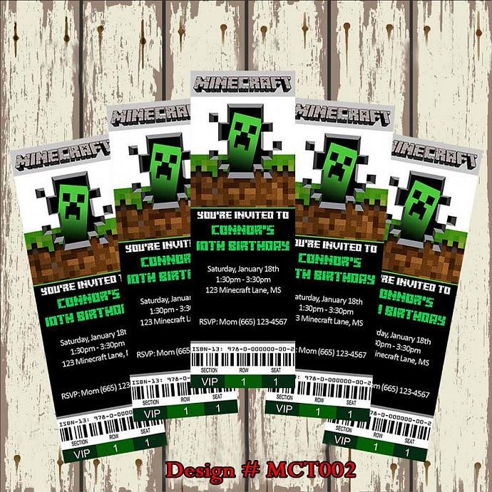 Minecraft Birthday Party Invitation InviteStudio