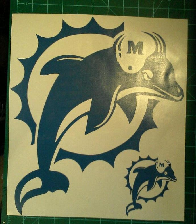 MIAMI DOLPHINS 2 - 5 x 5 Window Decals Vinyl Decals - Ready To Apply 5 Year