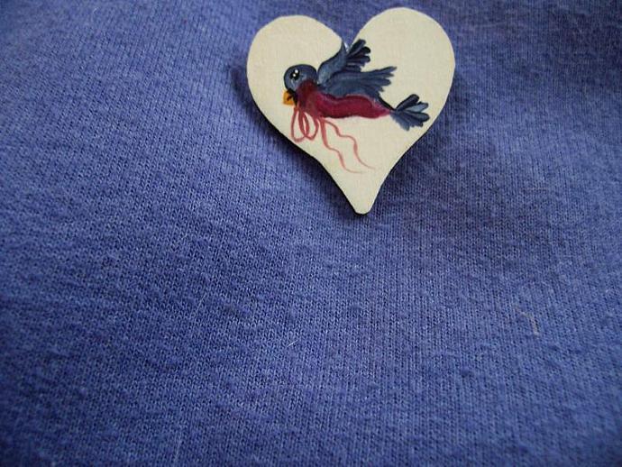 Bird on a Heart Shaped Pin