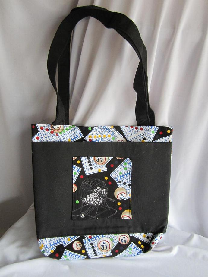 Bingo Bag/Purse/Lunch Bag Black with Velcro Closure