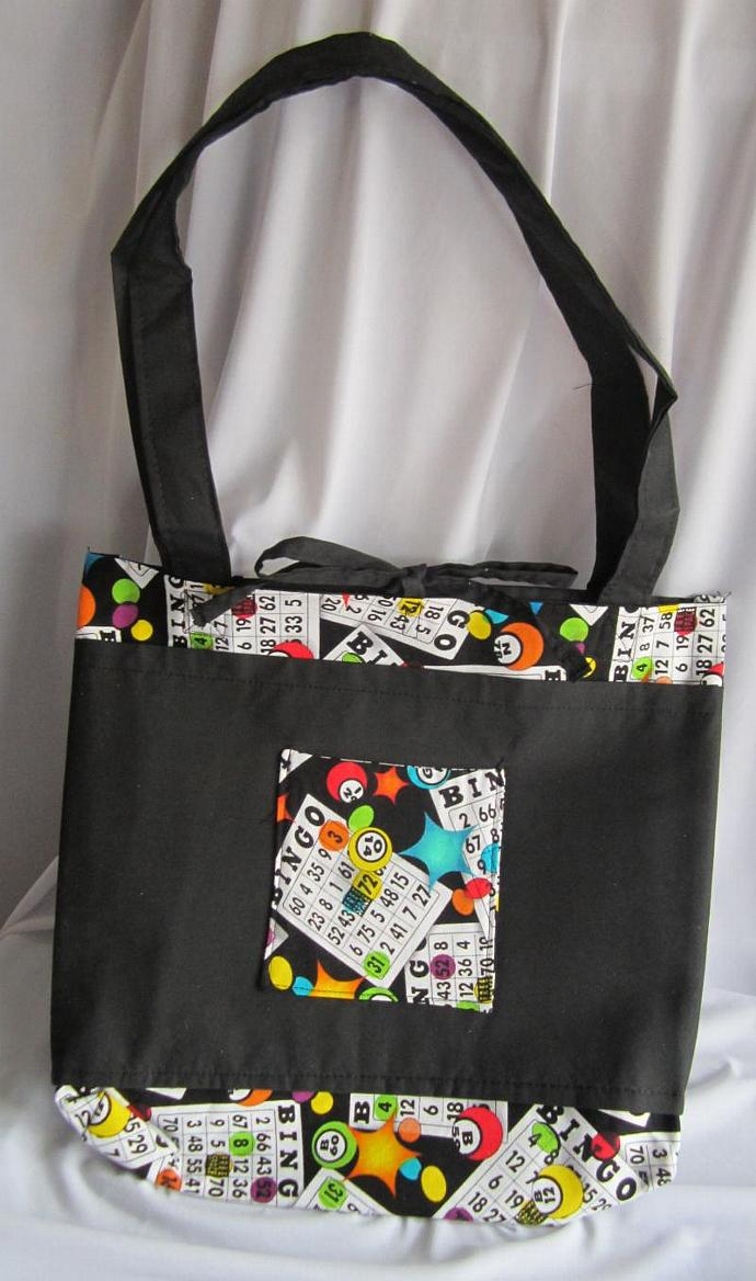 Bingo Bag/Purse/Lunch Bag Black with Tie Closure