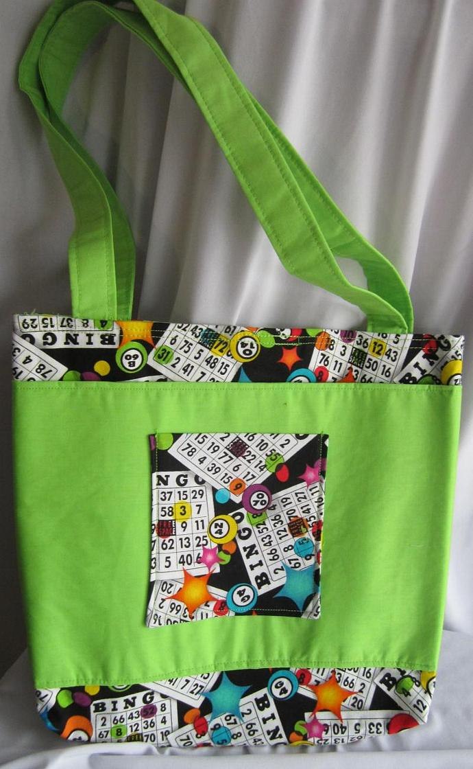 Bingo Bag/Purse/Lunch Bag Lime Green with Velcro Closure