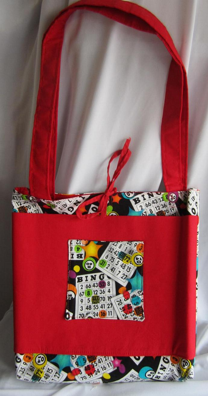 Bingo Bag/Purse/Lunch Bag Red with Tie Closure