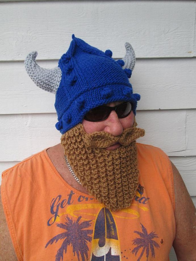 Knitted Viking Beard Viking Beard Hat Long Beard