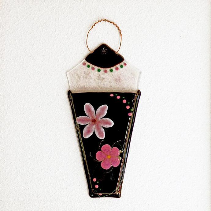 Wall Pocket Art Glass Vase, 22k Gold Embellished Pink Flowers against Dark Plum