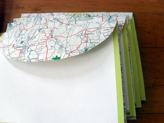 Recycled Map Stationery - 1954 Connecticut