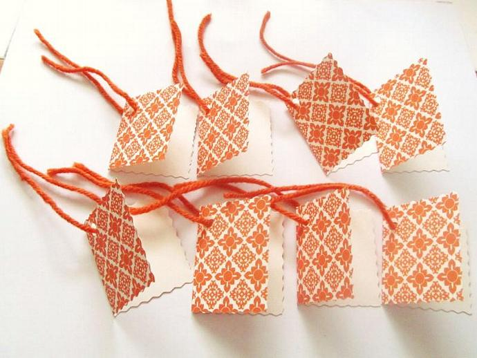 Elegant Collection Gift Tags Set of 8 - Orange, Postage Stamp Tags, Cardstock,