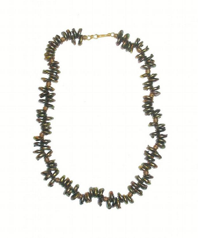 Green& Gold BAROQUE  pearl Necklace