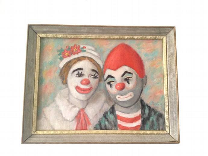 "Vtg Original THE CLOWN Kids Oil on Canvas Framed Painting  By Berty- 18"" x 14"""