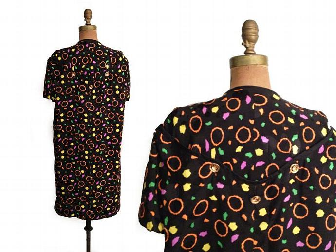 VTG. 1980s  PURE  Jacquard Silk Mini Dress, Black Bkg.  w Abstract Neon Colors