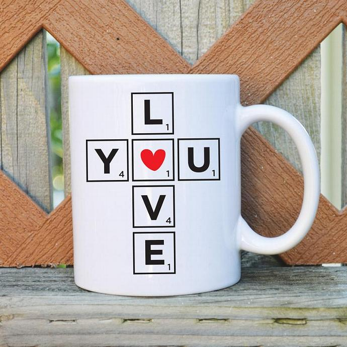 Love you - Scrabble - Valentine's Day - 11 oz. Coffee Mug - Tickled Teal