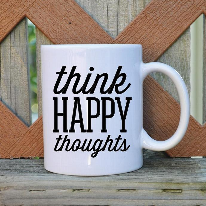Think Happy Thoughts - 11 oz. Coffee Mug - Tickled Teal