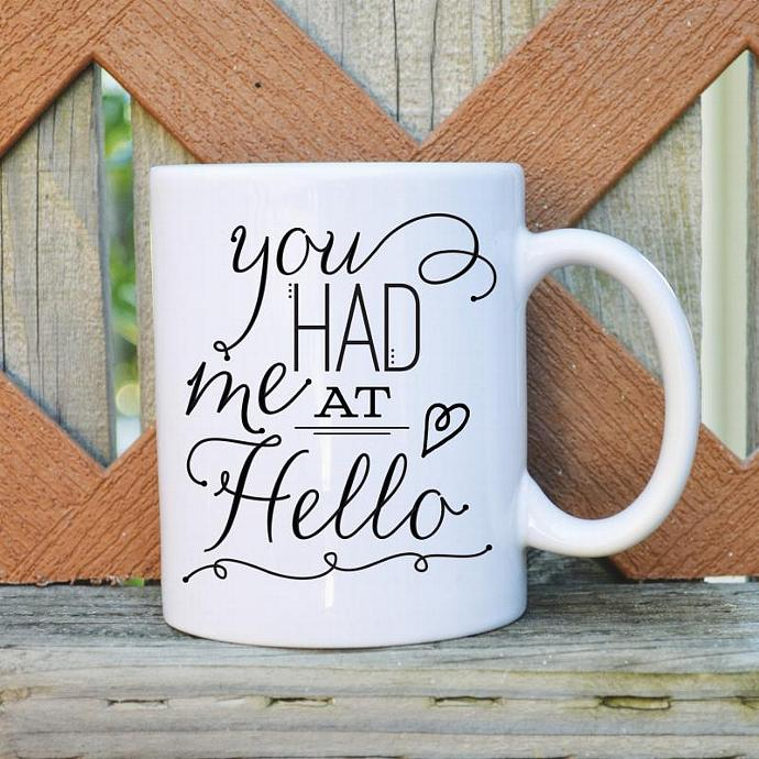 You Had Me at Hello - Valentine's Day - 11 oz. Coffee Mug - Tickled Teal