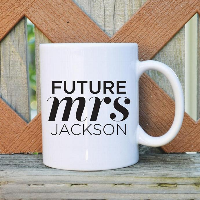 Future Mrs. - Custom Name - 11 oz. Coffee Mug - Tickled Teal