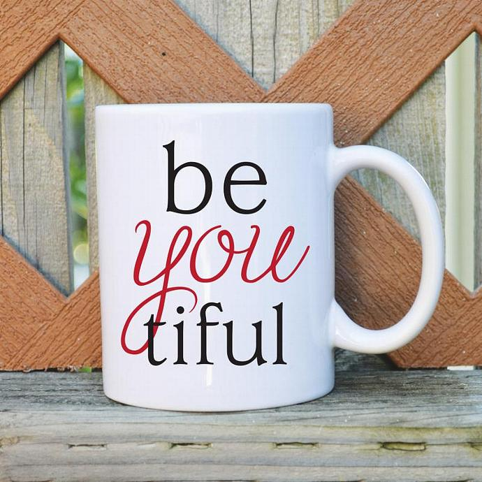 Be-You-Tiful  - Valentine's Day - 11 oz. Coffee Mug - Tickled Teal