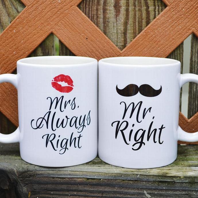 Mr Right & Mrs Always Right Coffee Mugs - 2 Mug Set