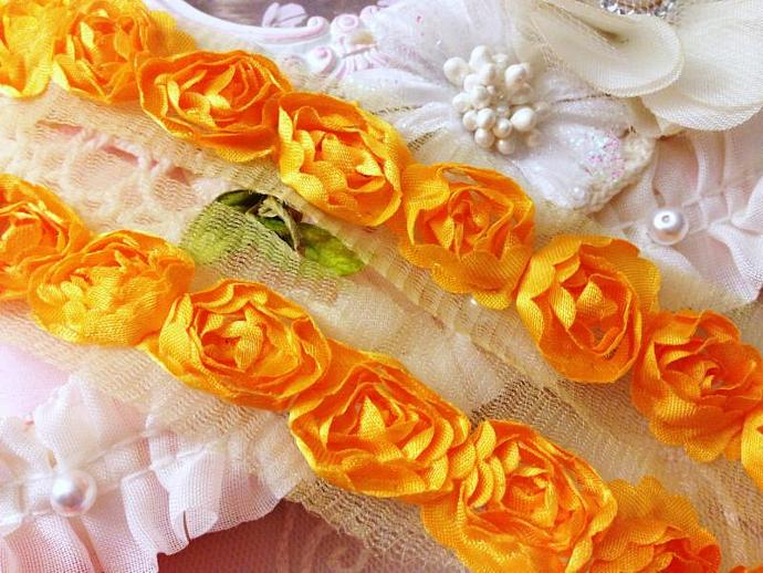 Orange Yellow Satin Shabby Rose Rosette Trim  for Headbands, Scrap booking,
