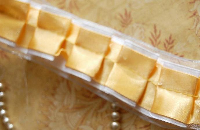Box Pleated Tri Layered Ruffled Satin Organza Ribbon in GOLD Cream 2 yards x