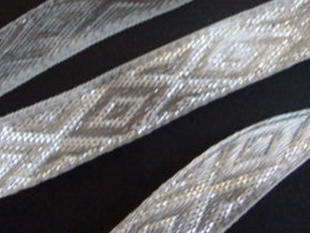 3 yd Jacquard woven Ribbon Silver Metallic Diamonds Wedding Favors