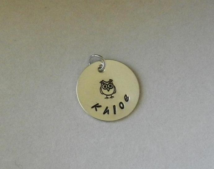 """CUSTOM- 3/4"""" Personalized Owl Pendant - Sterling Silver"""
