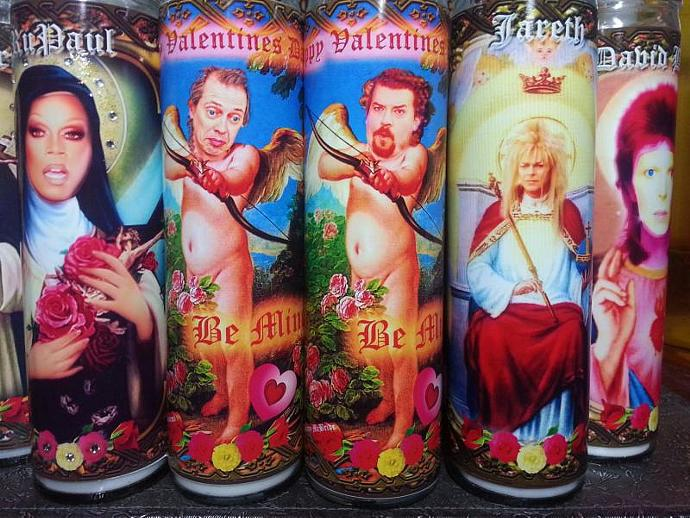"""8""""  Valentines Celebrity Tribute Candle - Happy Valentine's Day Cupid Steve"""