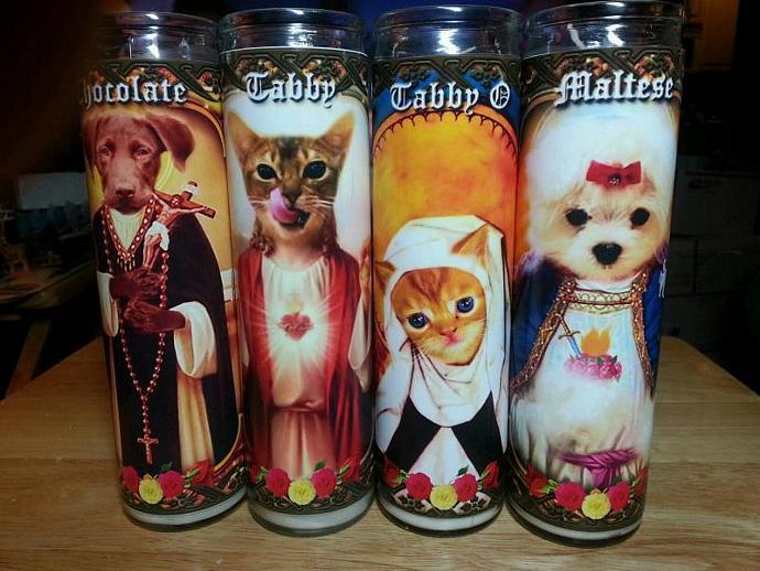 "8""  Animal CAT Kitty Tribute Candle - Sainted Orange Tabby Kitten - Portion sale"